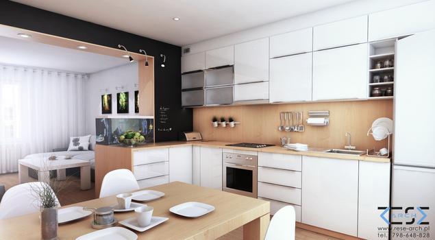Pomysł na kuchnię połączoną z salonem i jadalnią Nowocz   -> Nowoczesna Kuchnia Z Jadalnią I Salonem