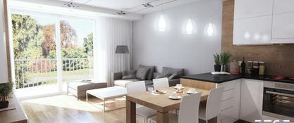Projekt mieszkania na osiedlu Zakątek w Chorzowie - pokój dzienny